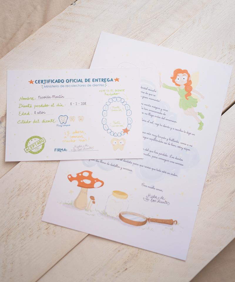 Carta y certificado de recogida del hada de los dientes