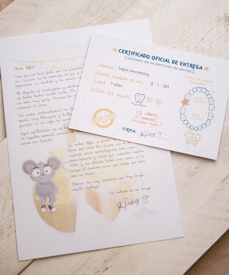 Carta y certificado de recogida del diente del ratoncito pérez