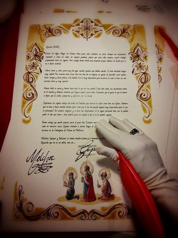 Foto de la carta clásica de los reyes magos de oriente